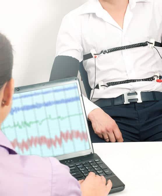 man taking polygraph test