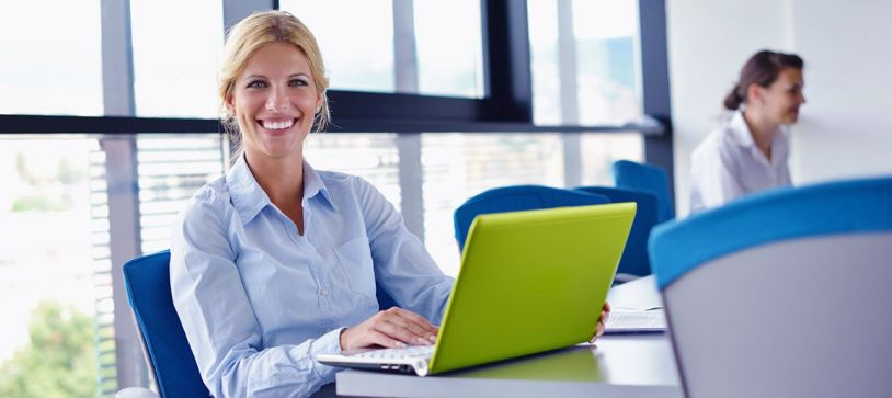 global data fusion background check employee on laptop